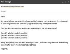 Contacting wholesale suppliers email example