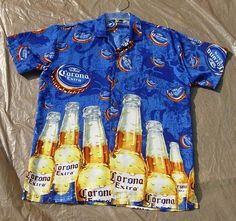 CORONA Beer Shirt ~ Great Bottle Pattern ~ Sz. L ~ !00% Polyester #CoronaBeer #Casual