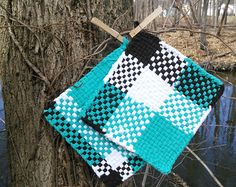 Items similar to large rag woven potholder set, rag woven hot pad set on Etsy Crafts For Seniors, Crafts For Teens, Crafts To Sell, Arts And Crafts, Crochet Cozy, Crochet Crafts, Sewing Crafts, Sewing Ideas, Potholder Loom