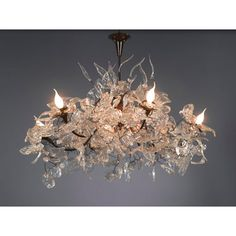 This magnificent chandelier is crafted using transparent flower and leaf shapes. The light emitted through the chandeliers resin or polymer flowers leaves a marvelous pattern in the shade cast on the wall around it.  This elegant light piece is an exceptional piece of jewelry for home, and will create a mesmerizing focal point in living room, bedroom, kitchen and even in  bathroom. http://www.mavestore.com/product/royal-chandelier