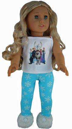 3 Piece Frozen Pajamas & Slippers for American Girl Doll Clothes Elsa Olaf #Generic