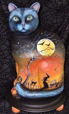 Artist Shirley Olsen - Magic Brush Studio - halloween art, witchy paintings, handpainted furniture and more