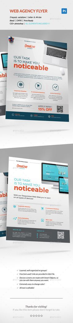 Web Design Agency Corporate Flyer Template PSD #design Download: http://graphicriver.net/item/corporate-flyer-web-design-agency-/14145902?ref=ksioks