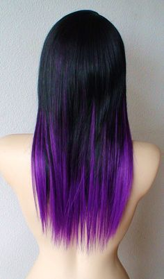 Black to purple ombre hair color. Just ordered my extensions for my birthday month to do this with!!! Bring on 23!