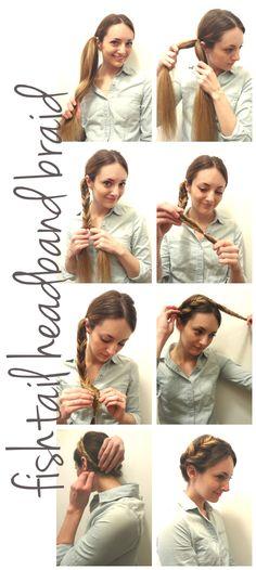 fishtail headband braid for long to medium hair