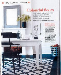 These beautiful vinyl geometric tiles, designed by Neisha Crosland for Harvey Maria, help to define the area in this dining room. (Neisha Crosland for Harvey Maria) Vinyl Flooring, Kitchen Flooring, Linoleum Flooring, Vinyl Tiles, Parquet Flooring, Hardwood Floors, Living Comedor, Decorating Small Spaces, Decorating Ideas