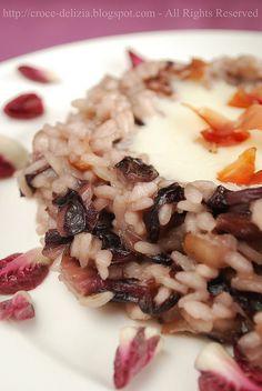 Risotto al radicchio, speck e fonduta di Castelmagno