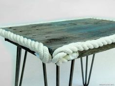 CHEPS PLANK END TABLE. Salvaged skid planks washed up in the Long Island Sound.