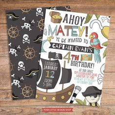 Pirate Birthday Invitation | Ahoy Matey Customized Digital Invitation | Pirate Theme Boy Birthday Party