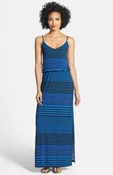 Bobeau Gathered Waist Stripe Maxi Dress