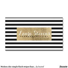 Modern chic simple black stripes faux gold leaf Double-Sided standard business cards (Pack of 100)