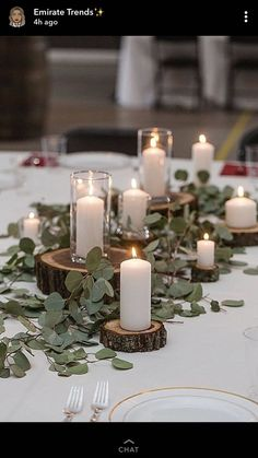 Ceremony table greenery and candles