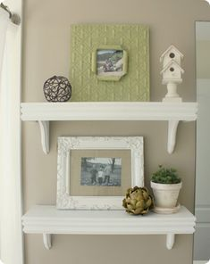 Lindsay from Country Girl Home shows how simple it is to build your own set of café shelves with some MDF, molding, and corbels. The project only requires making a few cuts (some of which your friendly Home Depot worker can do for you) and some patience in waiting for everything to dry. By making her own shelves, Lindsay was able to get just the size she wanted and a wider molding to match her home. Plus they only cost her $15 a shelf to make!