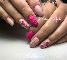 Christmas Nail Designs - My Cool Nail Designs Love Nails, Pink Nails, Pretty Nails, Xmas Nails, Holiday Nails, Nail Art Noel, Valentine Nail Art, Sweater Nails, Heart Nails