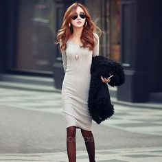 Summer/Autumn Fashion Women Cotton Supper Slim Dress Trend Long Sleeve Pencil Casual Solid Knitted mini Dress