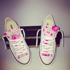 Pink Floral Customised Converse / Rip&Weave Clothing
