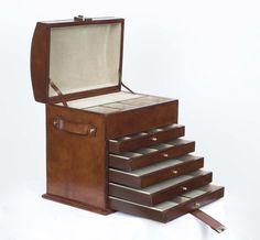 A stunning English handmade leather jewellery box.