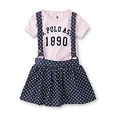 U.S. Polo Assn. Infant & Toddler Girl's T-Shirt & Scooter Jumper - Polka Dot