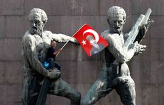 A demonstrator waves Turkey's national flag as he sits on a monument during a protest in central Ankara on June (Umit Bektas/Reuters) Ankara, Istanbul, Little Planet, Riot Police, The Clash, National Flag, Photojournalism, Photos, Photography