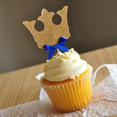 """Crown Cupcake Toppers. Royal Prince Baby Shower Decorations. 12CT. Our Confetti Momma """"The Little Prince"""" inspired cupcake toppers are perfect for adding a little sparkle to your little Prince's birthday. They will make your home made or store bought cupcakes look like a million bucks. And don't be afraid to stick them in other random foods. I'm thinking muffins, brownies and if you're feeling crazy stick them in a steak. Why not?."""