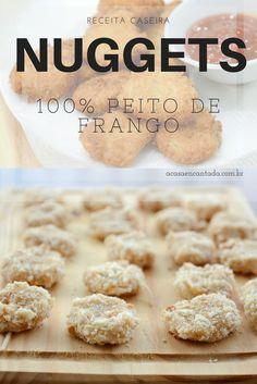 Receita de Nuggets de frango caseiro com um toque de parmesão que pode ser frito, assado ou congelado!