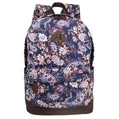 Imiflow Floral Canvas School Backpack Book Bags Laptop Rucksack for Girls and Women 019 Blue ** See this great product.