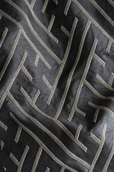Elektra Couture Fabric. On Indian Dupion - Black. By Beaumont & Fletcher. As seen at Decorex 2016.