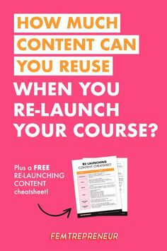 """We're answering an awesome question from fellow Femtrepreneur, Monica. She  asked, """"How much of your launch content can you reuse?"""" You may be  surprised, but you don't have to completely recreate your launch content!  We're going to go through the tweaks you will need to make and how to  relaun"""