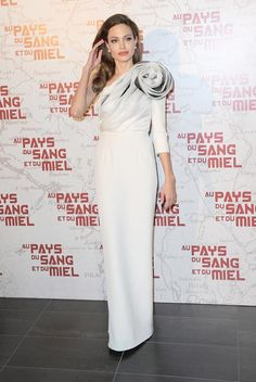 """Angelina Jolie in Ralph and Russo at the Paris premiere of 'In The Land Of Blood And Honey"""" in Paris, France on February 16, 2012"""