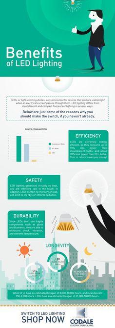 Benefits of LED Lighting Infographic Online Shop Lighting, Lighting Design, Energy Efficient Lighting, Dining Room Lighting, Led Technology, Led Strip, Benefit, Infographic Online, Bulb