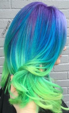 Rainbow green ombre dyed hair color @xostylistxo