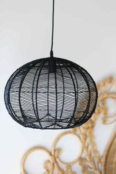 BLACK ROUND RATTAN PENDANT Basket Lighting, Dining Lighting, Kitchen Pendant Lighting, Kitchen Pendants, Lighting Ideas, Lighting Design, Black Basket, Ceiling Canopy, Ceiling Lamp