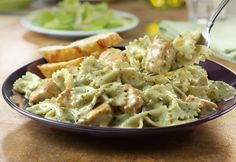 Creamy Pesto Chicken Pasta: On-hand ingredients like cream of chicken soup, pasta and prepared pesto sauce combine with chicken to make a mouthwatering dinner that's on the table in 40 minutes.