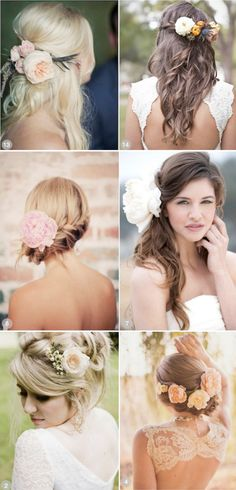 Wedding Tips: Wearing Fresh Flowers in your Hair.. middle right. top left.