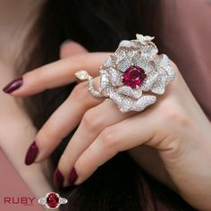 Flower design beautiful and stylish ruby stone ring