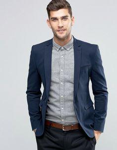 ASOS Super Skinny Blazer in Navy Cotton