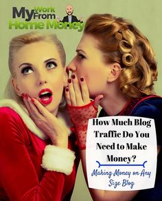 Four bloggers reveal how to make money blogging and answer how much blog traffic you need to make your work from home life a success. Great detail on blogging income sources.