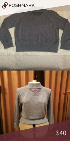 Sweater Armani Exchange  worn once. Lace insert  Turtleneck. Size M. Merino wool grey Armani Exchange Sweaters Cowl & Turtlenecks