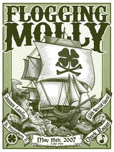 Rare Mini Print/Poster - Size: A4 (Approximately: 21 cm x 29.7 cm) 8.27 inches x 11.7 inches. Flogging Molly, Concert Posters, Poster Prints, Mini, Gig Poster