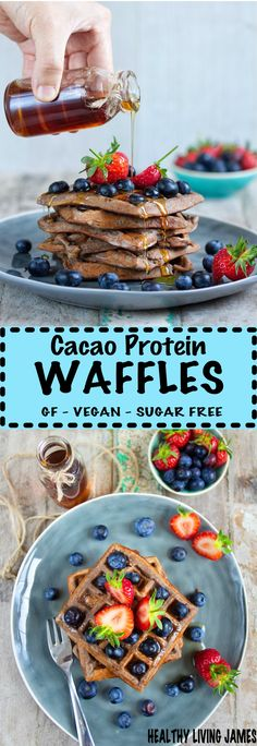 Gluten Free & Vegan Cacao Protein Waffles – Really simple 6 ingredient cacao protein waffles which are perfect for a weekend breakfast treat or even as a dessert. They are gluten free, vegan and refined sugar free! Sandwich Maker Recipes, Breakfast Sandwich Maker, Breakfast Waffles, Waffle Recipes, Eat Breakfast, Pancake Recipes, Pancakes, Gluten Free Breakfasts, Vegan Breakfast Recipes