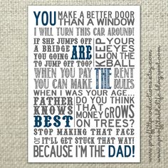 Subway Art of things Dad used to say. Funny Father's Day gift from A Proffittable Life!-For My Dad Father's Day Printable, Free Printables, Printable Quotes, Fathers Day Cards, Happy Fathers Day, Inspiration Artistique, My Dad Says, Dad Quotes, Dad Sayings
