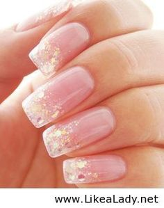 Glitter french gel manicure - but almond shaped please