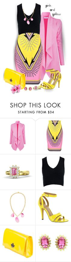 """Pink and Yellow"" by lorrainekeenan ❤ liked on Polyvore featuring Versace, Sans Souci, Devon Leigh, Michael Antonio and Dsquared2"