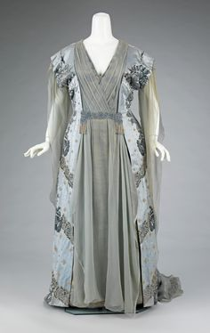 "Tea Gown, Attributed to Jean-Charles Worth (French, 1881–1962) or Attributed to Jean-Philippe Worth (French, 1856–1926) for the House of Worth (French, 1858–1956): ca. 1910, French, silk, rhinestones, metal. ""This was worn by the wife of one of the great American bankers of the 19th century, J.P. Morgan, Jr. (1867-1943). It exemplifies the grandeur of Worth clothing among wealthy Americans, who aspired to be associated with European royalty..."""