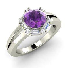 1.27 Carat Purple Amethyst Engagement Ring in 14k White Gold with VS/G Diamond - Genuine Gemstone