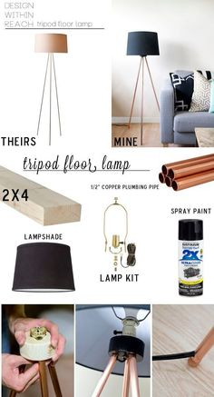 DIY Tripod Floor Lamp Total $34.50 with 10' copper pipe: