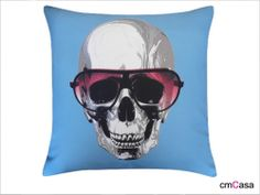 =cmCasa= 2574  Skull With Sunglasses Throw Pillow Case
