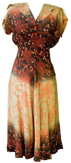 1930s Silk Dress Ombre Gray White Cream Floral Print Shirtwaist, Flared Collar, Bias Cut Skirt