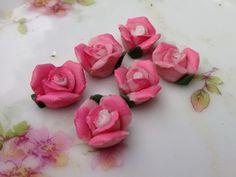 N493F Vintage Flower Cabochons Porcelain Lot by purpleviolets77