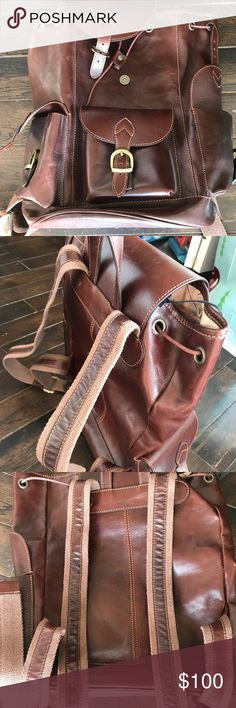 NEW - Genuine Italian Leather Backpack Never used! Perfect condition! Genuine Italian brown leather backpack. Old Angler Bags Backpacks